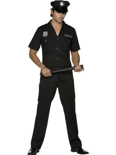 Polizistenkostüm Kostüm Polizist Polizei US Cop USA in schwarz Uniform für Herren Herrenkostüm Fasching Karneval Gr. 48/50 (M), 52/54 (L), Größe:L