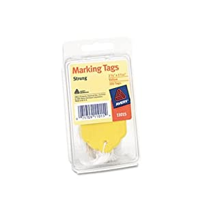 Avery Marking Tags, Strung, Yellow, Pack of 100, 2.75 x 1.68 Inches (11015)