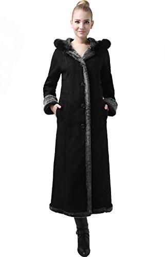 "BGSD Women's ""Elisha"" Hooded Faux Shearling Maxi Coat - Black/Gray XL"