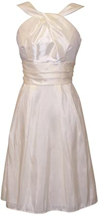 Taffeta Halter Bridesmaid Dress Prom Party Formal Gown Knee-Length, XS, Ivory