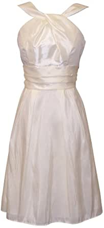 Taffeta Halter Bridesmaid Dress Prom Party Formal Gown Knee-Length, Small, Ivory