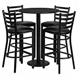"Flash Furniture 30"" Round Black Laminate Table Set with 4 Ladder Back Metal Bar Stools – Black Vinyl Seat thumbnail"