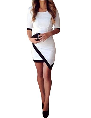 Kranda Women 1/2 Sleeves Stretch Slim Bodycon Pencil Party Cocktail Dress