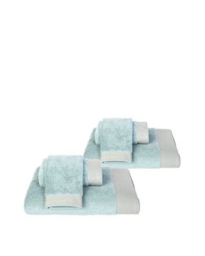 Home Source6-Piece Bath Set, Aqua/Tan