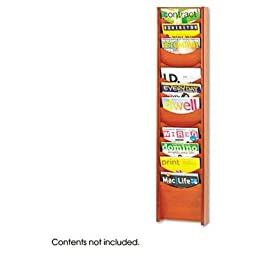 Safco - Solid Wood Wall-Mount Literature Display Rack 11-1/4 X 3-3/4 X 48-3/4 Cherry \