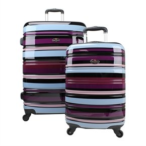 Swiss Case 4 Wheel 2Pc Suitcase Set PURPLE