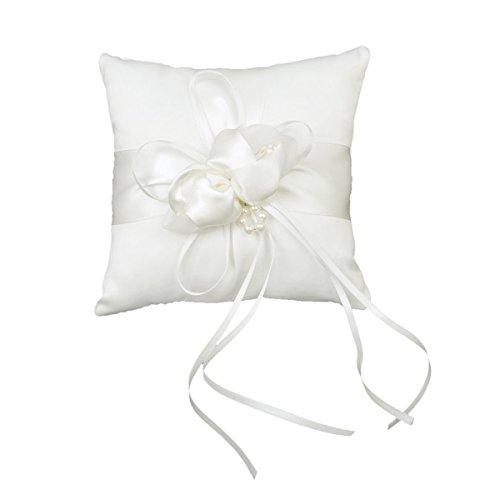 WINOMO Hochzeit Ringkissen Elfenbein Knospe Blume 20cmx20cm
