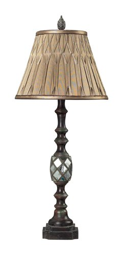 Dimond Lighting Mirrored Table Lamp with Pinch Pleated Shade