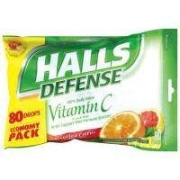 80 Per Bag - Halls Defense Vitamin C Drops, Assorted Citrus, 80 Ct.