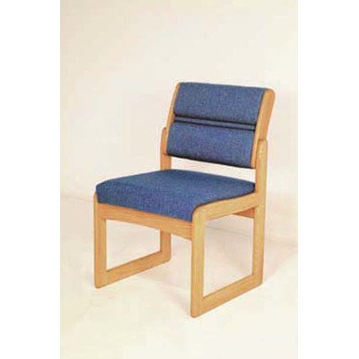 Wooden Mallet Sled-Base Valley Armless Guest Chair, Light Oak, Powder Blue