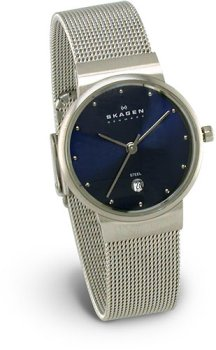 Skagen 355SSSNA Ladies Stainless Steel Bracelet Blue Dial Date Watch