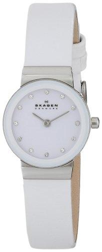 Skagen - 358XSSLWW - Montre Femme - Quartz - Analogique - Bracelet cuir Blanc