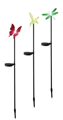 Hummingbird, Butterfly & Dragonfly Solar Garden Stake Lights, 3 in a Set. Black Coated Aluminum Stakes!