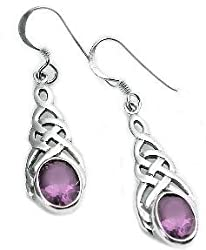 Sterling Silver Celtic Knot Amethyst Drop Hook Earrings