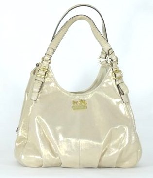 Coach Madison Metallic Leather Maggie Hobo Handbag 19700 Gold