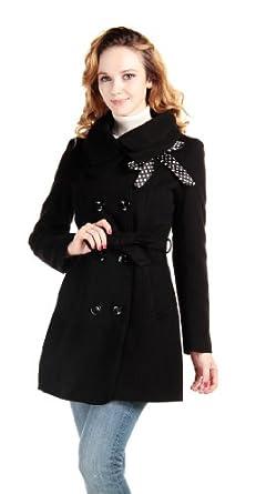 CHAREX® Women Wool Blends Coat Slim Trench Winter Coat Long Jacket Outwear (X-Larger, Black)