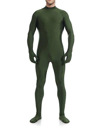 [WOLF UNITARD Men's Unitard Dancewear Lycra Spandex Bodysuit Large Deep Green] (Green Man Body Suit)