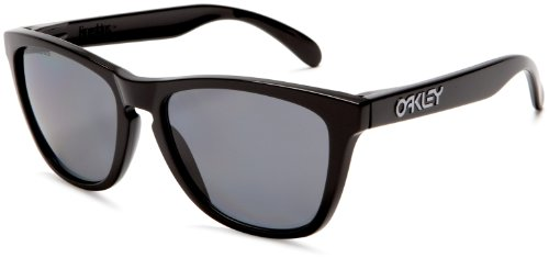 Oakley Frogskins Polarized Sport Sunglasses,Polished Black Frame/Grey Lens,one size