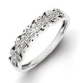 Genuine IceCarats Designer Jewelry Gift Sterling Silver Diamond Band Size 6.00