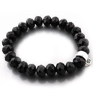 Armband für Charms aus schwarzen Glassteinen