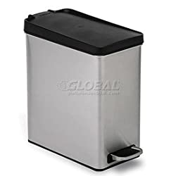 Simplehumanยฎ Profile Step Can With Plastic Lid - 2-3/5 Gallon Brushed Ss