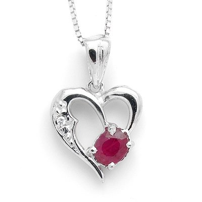 5*4mm Ruby Gem Stone Natural 925 Sterling Silver Gemstone Diamond Pendant Necklaces 010