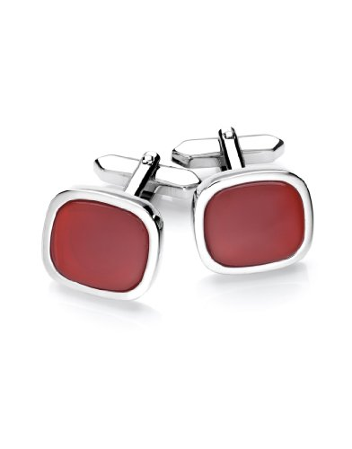 VB Cuff-Links, rhodium plated - agate inlay