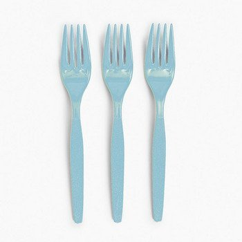 50 Plastic Light Blue Forks - Party Tableware & Cutlery (Light Blue Plastic Forks compare prices)