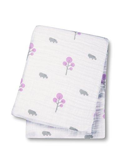 """Lulujo Baby Muslin Cotton Swaddling Blanket, Hippo/Pink, 47"""" x 47"""""""