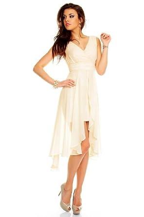 Vokuhila abendkleid brautkleid cocktailkleid kleid aus chiffon in creme bekleidung - Vokuhila kleid chiffon ...