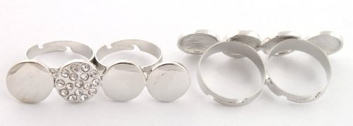 Ladies Stylish Silver Quad Circle Style with 1 Iced Out Metal Adjustable Double Finger Ring
