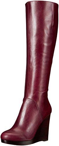 Nine West Women's Harvee Leather Winter Boot, Wine, 5.5 M US