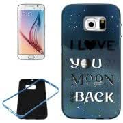 Love you to the Moon and Back Pattern PC Frame + Synthetic Rubber Back Shell Combination Case for Samsung Galaxy S6 / G920