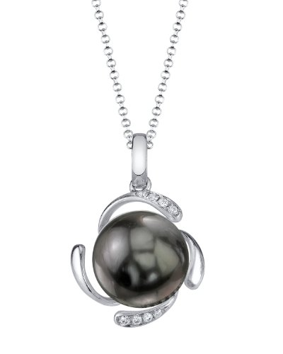 14K Gold Tahitian South Sea Pearl & Diamond Debra Pendant