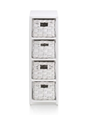 White Rattan 4-Tier Storage Unit