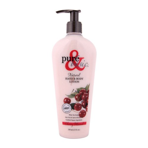 New - Pure and Basic Natural Bath And Body Lotion Cherry Almond - 12 fl oz Basic Natural Bath