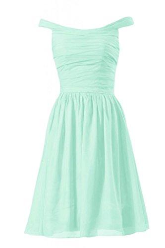 Daisyformals Short Off Shoulder Chiffon Bridesmaid Dress(Bm4080)- Mint