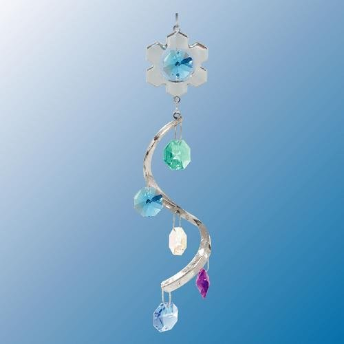 Snowflake Swirl ... Hanging Sun Catcher or Ornament..... With Ass'ted Color Swarovski Austrian Crystals