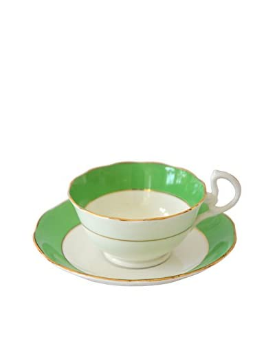 Patina Vie Vintage Pistachio Teacup & Saucer, Green As You See