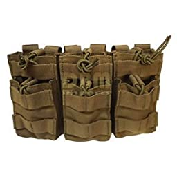 TAN Molle Triple STACKER .223 5.56 MAG Pouch Ammo Carrier Open Top Bungee