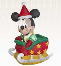 RARE 4 ft. - Gemmy Christmas Airblown Inflatable - Disney Mickey Mouse in Sled
