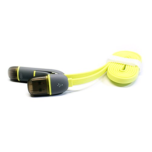 Teckology 1M Long Hybrid Siamese Boddy High Speed Flat Noodle 2 In 1 Usb Data Cable 8 Pin And Micro For Apple I5 I6 And Samsung Android Smartphone Yellow front-185025