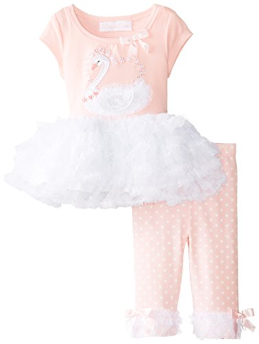Bonnie Baby-Girls Newborn Swan Applique Legging Set, Pink, 6-9 Months front-1062524