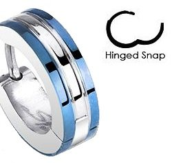 Single Two-Tone Small Huggie Hoop Earring (Diameter: 14mm. Width: appx 4mm) Stainless Steel (will not tarnish/fade) Supplied in Gift Pouch