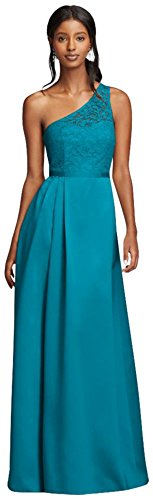Long Illusion Lace and Satin Bridesmaid Dress Style F18058, Oasis, 4 (Davids Bridal Long Dress Oasis compare prices)