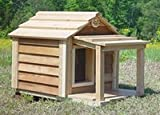 31VTFCJJGGL. SL160  20 Inch Cedar Cat House with Porch & Deck : Size SMALL CEDAR W PORCH & DECK   INSULATED
