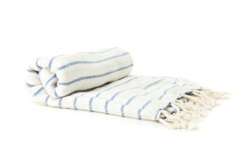 Bio-Baumwolle und Bambus Hamamtuch Pestemal Lendentuch Saunatuch Saunatücher Saunahandtuch Strandtücher Pool-Handtuch Zubehör (Blau)
