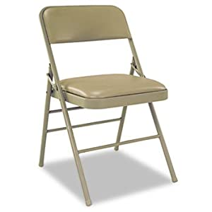 Bridgeport 60883TAP4 - Deluxe Vinyl Padded Seat & Back Folding Chairs, Taupe, 4/Carton