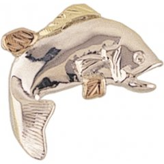 High-polish Sterling-silver Yellow-gold Black Hills Gold Fish Tie-tack/lapel Pin