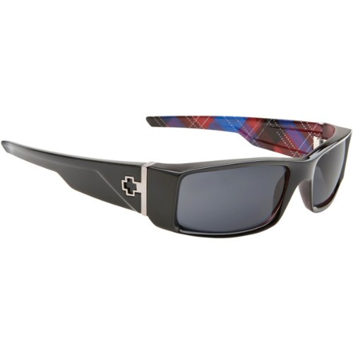 Spy Hielo Sunglasses - Spy Optic Exquisite Linings Collection Casual Wear Eyewear - Color: Black with Hipster Plaid/Grey, Size: One Size Fits All